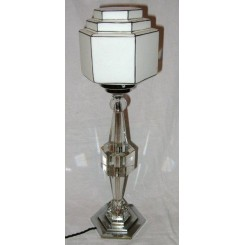 French Nickel Plated Bronze And Glass Hexagonal Table Lamp