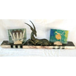 Spelter Art Deco Gazelle With Double Photo Frame On Marble Base