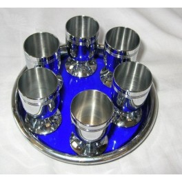 Chrome And Blue Glass Tray With 6 Chrome Cup Set By Chase