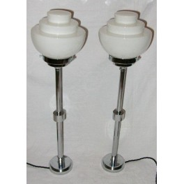 Superb pair of Modernist chrome table lamps with white stepped shades