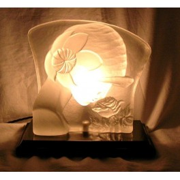 Heavy solid glass French Luminaire of a Deco lady with flower on stepped ebonised wood base