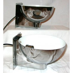 Pair of Modernist chrome cup Wall Lights in the style of Jean Perzel