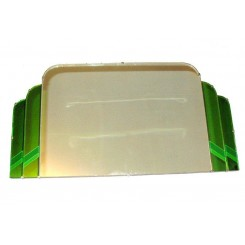 (ON HOLD)Unusual Art Deco Step Design Green And Clear Mirror (ON HOLD)