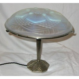 French Art Deco Nickel Plated Bronze Table Lamp