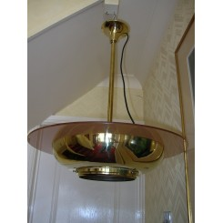 Magnificent French brass fixture with rose coloured class ring shade