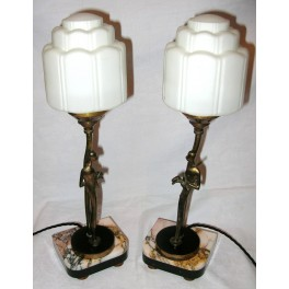 Wonderful Pair Of Hagenauer Style Table Lamps On Marble Bases