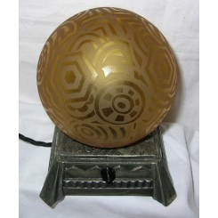 French Wrought Iron Art Deco Table Lamp Amber Glass Globe Shade