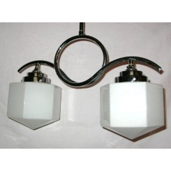 Modernist chrome 2 arm ceiling fixture with white hexagonal shades
