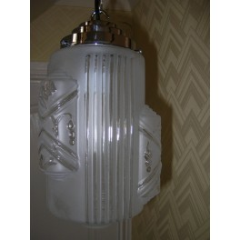 French clear and frosted cylinder fixture