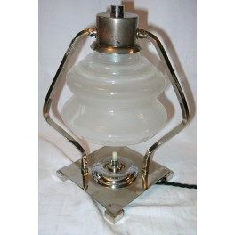 Square Modernist Table Lamp With Frosted Concertina Glass Shade