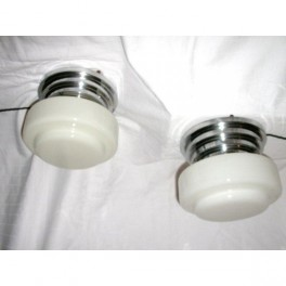 Unusual pair of white glass & chrome close fit ceiling lights  by Albrite of France