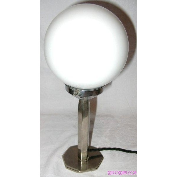 small nickel plated metal hexagonal table lamps with small white globe. Black Bedroom Furniture Sets. Home Design Ideas