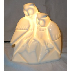 Art Deco White Porcelain Night Light Of 2 Owls By Limoge