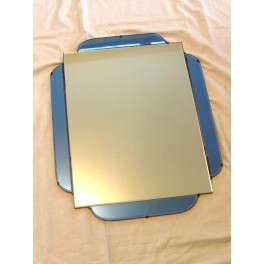Good Art Deco blue and clear oblong mirror