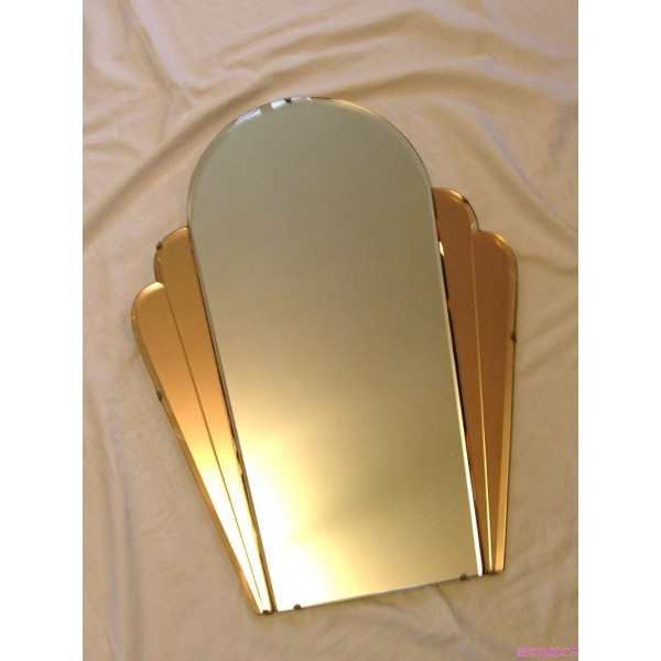 Elongated Cloud Shaped Salmon And Clear Art Deco Mirror