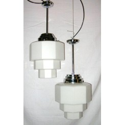 Large Pair Of 12 Sided Step Design Art Deco Ceiling Lights