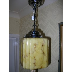 Lovely French Art Deco marbled glass fixture
