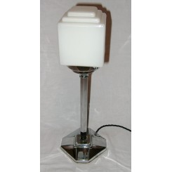 English Art Deco chrome square based table lamp with fabulous white stepped cube shade