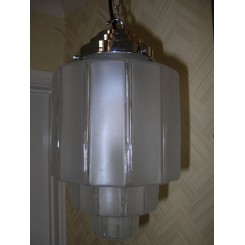 Excellent pair of Machine Age clear and Frosted ceiling lights