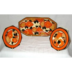 Clarice Cliff Sandwich Plate And 2 Tea Plates In The Orange Chintz Pattern
