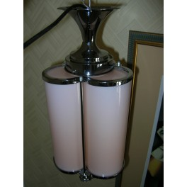 Unusual French pink glass trefoil shaped fixture with chrome mounts