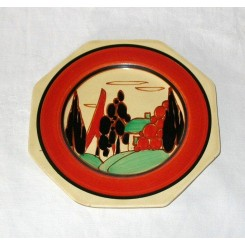 Clarice Cliff Plate In The Tree And House Pattern
