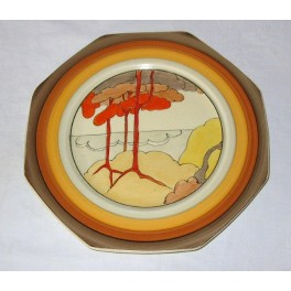 Clarice Cliff Plate In The Coral Firs Pattern