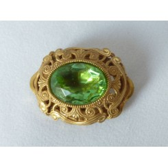 Miriam Haskell Brooch With Green Stone 1960s