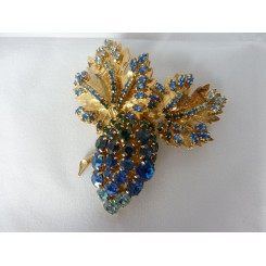 Blue Dior Pin In The Shape Of Grape And Vines 1960s