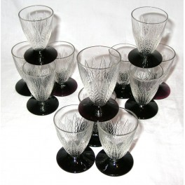 Suite of 12 small French Art Deco glasses