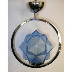 Vintage Deco English Chrome Ring Ceiling Fixture with blue star shade