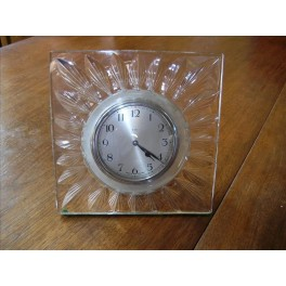 Excellent Webb Corbett glass art deco clock with eight day movement