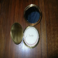 Boxed brass art deco compact