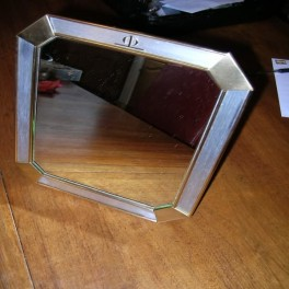 French oblong metal framed table mirror
