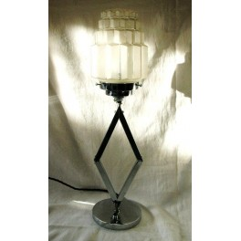 Art Deco Chrome elongated diamond Shaped Table Lamp
