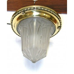 French Art Deco Geometric Cone Shaped Glass Ceiling Light On Brass Close Fit Fixture