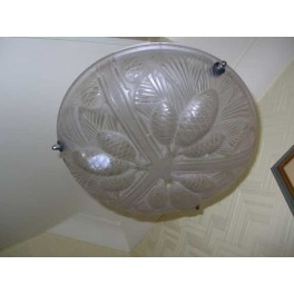 French clear glass plafonnier with a stylised cone design