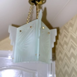 Triangular glass hall light fixture