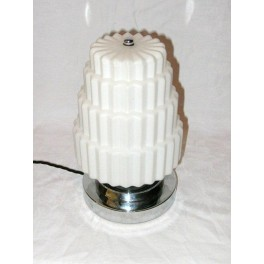 White Cog Design French Art Deco Table Lamp On Original Stepped Chrome Base