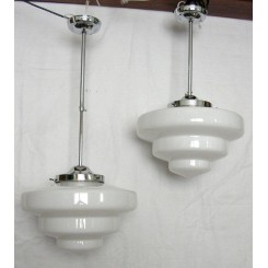 Pair Of Height Adjustable Deco Fixtures With White Stepped Shades