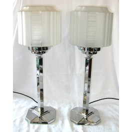 Pair Of Chrome Art Deco Table Lamps