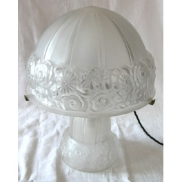 French Art Deco Glass Table Lamp With Illuminated Glass Base