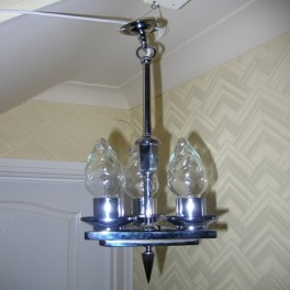 Small chrome triangular english modernist ceiling fixture