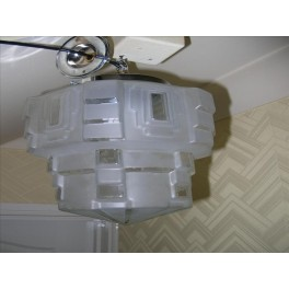 Glass clear and frosted stepped ceiling fixture