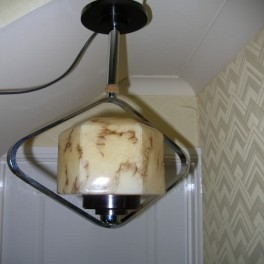 Unusual chrome diamond shaped fixture with bakelite fittings & marbled glass shade