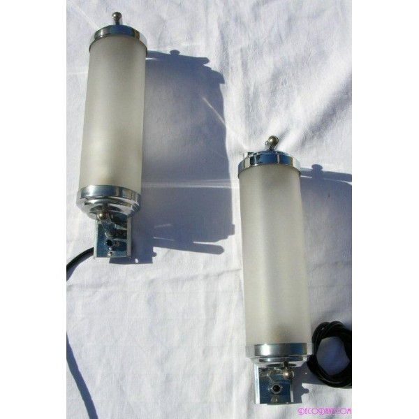 Glass Tube Wall Lights : Excellent pair of Modernist chrome and tube glass wall lights - Deco Dave