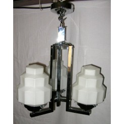 3 Arm square section Art Deco fixture with white shades