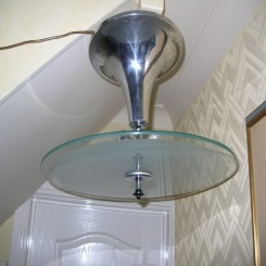 Wonderful pair of moderist glass ring ceiling fixtures