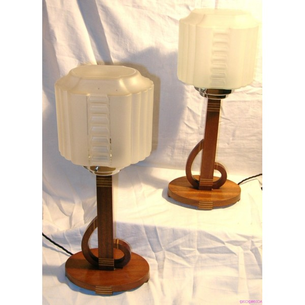 table and standard lights pair of inlaid wooden art deco table lamps. Black Bedroom Furniture Sets. Home Design Ideas