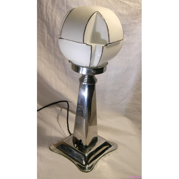 pair of art deco nickel table lamps with black and white shaped globe. Black Bedroom Furniture Sets. Home Design Ideas